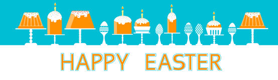 Easter Cake With Candle Decorated Eggs Set Traditional Food Happy Holiday Horizontal Banner Royalty Free Stock Photography