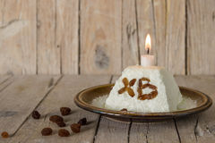 Easter cake with candle Royalty Free Stock Photography