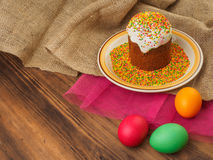 Easter cake, ceramic bowl with colorful sweet powder and easter colored egg. Russian and Ukrainian, orthodox slavic Stock Images