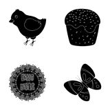 Easter cake, chicken, butterfly and greeting sign.Easter set collection icons in black style vector symbol stock Royalty Free Stock Photography