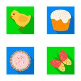 Easter cake, chicken, butterfly and greeting sign.Easter set collection icons in flat style vector symbol stock Royalty Free Stock Photo