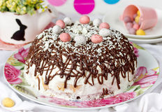Easter cake with chocolate and candy eggs Stock Images