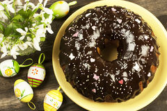 Easter cake with chocolate cream Stock Images