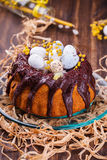 Easter cake with chocolate decorated Royalty Free Stock Images