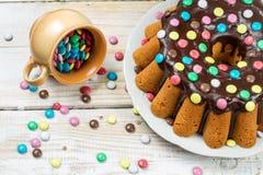 Easter cake with chocolate glaze Stock Photo