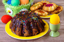 Easter cake with chocolate glaze Royalty Free Stock Photo