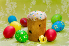 Easter cake  and colored easter eggs Royalty Free Stock Photo