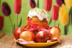 Easter cake and colored easter eggs Stock Photo