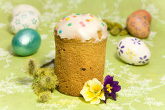 Easter cake  and colored easter eggs Stock Images