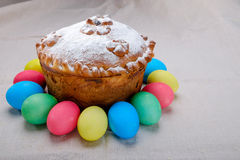 Easter cake and colored Easter eggs Royalty Free Stock Images