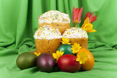 Easter cake and colored eggs Royalty Free Stock Photo