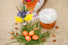 Easter cake and colored eggs Stock Photo