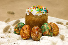 Easter cake and colored eggs. Orthodox holiday Stock Image