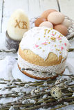 Easter cake with colored eggs and willow Stock Image