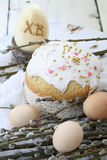 Easter cake with colored eggs and willow Royalty Free Stock Photography