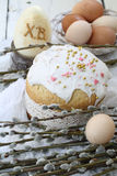 Easter cake with colored eggs and willow Stock Photo