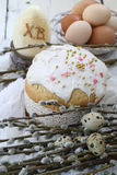 Easter cake with colored eggs and willow Stock Photography