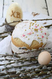 Easter cake with colored eggs and willow Royalty Free Stock Images