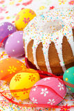 Easter cake and eggs Stock Photos