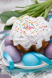 Easter cake and colorful eggs Royalty Free Stock Photos