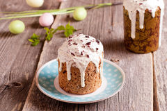 Easter cake and colorful eggs Royalty Free Stock Images
