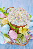 Easter cake and colorful eggs on table Royalty Free Stock Photos