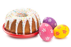 Easter cake and colorful eggs Stock Photo