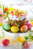 Easter cake and colourful eggs Stock Photography