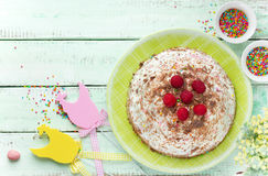 Easter cake with cottage cheese chocolate and raspberry Stock Images