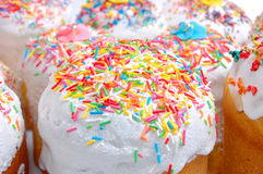 Easter cake covered with sugar ornaments Stock Photos