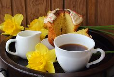 Easter cake and a cup Stock Photography