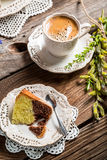 Easter cake and cup of coffee Royalty Free Stock Photos