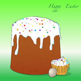 Easter cake, cupcake and egg Royalty Free Stock Image