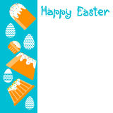Easter Cake Decorated Eggs Set Traditional Food Happy Holiday Greeting Card Empty Copy Space Stock Photography