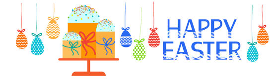 Easter Cake Decorated Eggs Set Traditional Food Happy Holiday Horizontal Banner Royalty Free Stock Photo