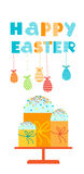 Easter Cake Decorated Eggs Set Traditional Food Happy Holiday Vertical Banner Stock Image
