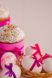 Easter cake and decorated eggs. Royalty Free Stock Photo