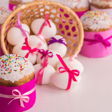 Easter cake and decorated eggs. Royalty Free Stock Image