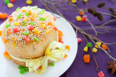 Easter cake decorated with fruit pieces Stock Photos