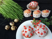 Easter cake decorated kalanchoe flowers, cooking for a vegetarian diet. Easter cake cooking, kalanchoe flowers, quail eggs, nuts and Melissa for doughs, cooking royalty free stock images