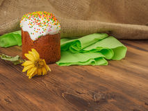 Easter cake and dry flower. Russian and Ukrainian, orthodox, slavic traditional Easter kulich on rural background from Stock Images