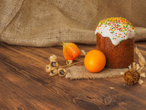 Easter cake and easter colored egg with dry flower. Russian and Ukrainian, orthodox, slavic traditional Easter kulich on Royalty Free Stock Image
