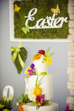 Easter cake with easter decor board Royalty Free Stock Photography