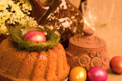 Easter cake and easter eggs Royalty Free Stock Images