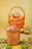 Easter cake and Easter eggs in a basket, postcard Royalty Free Stock Images