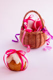 Easter cake and easter eggs. Royalty Free Stock Photography