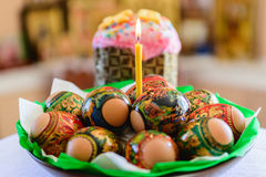 Easter cake and Easter eggs Royalty Free Stock Photos