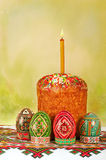 Easter cake and Easter eggs on embroidery, postal Stock Photography