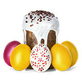 Easter cake and Easter eggs Stock Photos