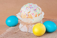 Easter cake and Easter eggs. Stock Image